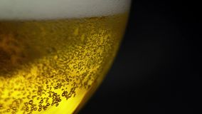 Yellow beer close up shot .Pouring beer with bubbles and foam in glass.  stock video