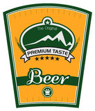 Yellow Beer Label. A beer label yellow and green colored Royalty Free Stock Photography