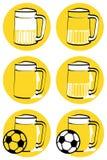 Yellow beer mugs vector illustration