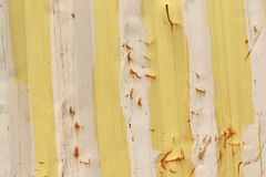 Yellow and beige metal walls of a container. Covered with rust Royalty Free Stock Images