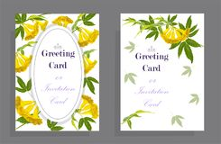 Yellow bell flower Greeting card. Yellow bell flower on Greeting ,wedding and invitation cards, illustration Royalty Free Stock Photo