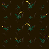 Yellow bell flowers on brown abstract vector wallpaper pattern Stock Images