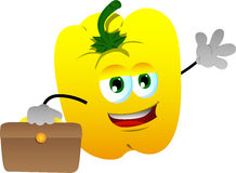 Yellow bell pepper as businessman Stock Photo