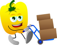 Yellow bell pepper as delivery man Stock Images