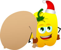Yellow bell pepper as Santa Claus with a big sack Royalty Free Stock Image