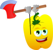 Yellow bell pepper with an axe Royalty Free Stock Photography