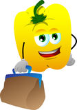 Yellow bell pepper with bag Royalty Free Stock Images