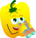 Yellow bell pepper with binoculars Royalty Free Stock Image