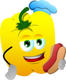 Yellow bell pepper chef with hot dog Stock Photo