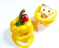 Yellow bell pepper  and cherry tomato Royalty Free Stock Images