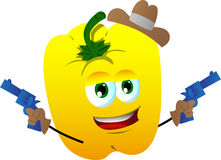 Yellow bell pepper cowboy with gun Royalty Free Stock Photos