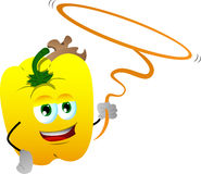 Yellow bell pepper cowboy with lasso Royalty Free Stock Photography