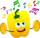 Yellow bell pepper with cymbals Royalty Free Stock Images