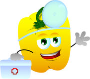 Yellow bell pepper doctor with first aid kit Royalty Free Stock Photos