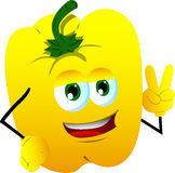 Yellow bell pepper gesturing the peace sign Stock Photography
