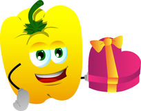 Yellow bell pepper with gift for Valentines Day Royalty Free Stock Photo