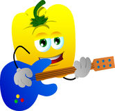 Yellow bell pepper guitar player Royalty Free Stock Photos