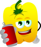 Yellow bell pepper holding beer or soda can Royalty Free Stock Photo