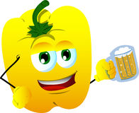 Yellow bell pepper holding beer Stock Image