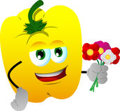 Yellow bell pepper holding a bunch of flowers Royalty Free Stock Photography