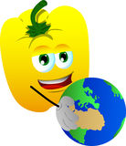 Yellow bell pepper holding Earth Stock Photos