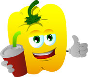 Yellow bell pepper holding soda and showing thumb up sign Royalty Free Stock Images