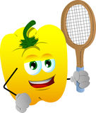 Yellow bell pepper holding a tennis rocket Stock Images