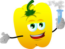 Yellow bell pepper holds beaker of chemicals Royalty Free Stock Photo