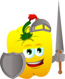 Yellow bell pepper knight Stock Images