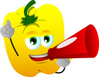 Yellow bell pepper with megaphone Stock Photo