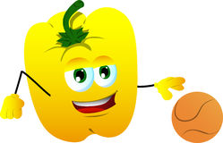 Yellow bell pepper playing basketball Royalty Free Stock Image