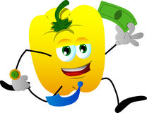 Yellow bell pepper running with money Stock Photo