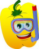 Yellow bell pepper scuba diver Royalty Free Stock Photos