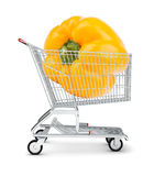 Yellow bell pepper in shopping cart Stock Photography