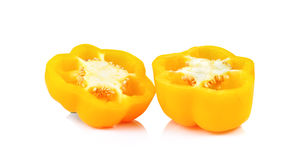 Yellow Bell pepper sliced  isolated on white background Stock Image