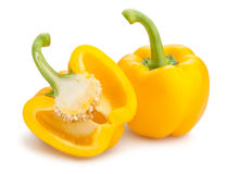 Yellow bell pepper. Sliced yellow bell pepper on white background royalty free stock photos