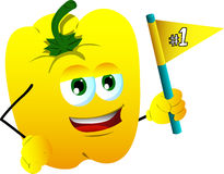 Yellow bell pepper sports fan with flag Stock Photo