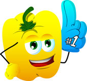 Yellow bell pepper sports fan with glove Royalty Free Stock Photos