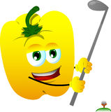 Yellow bell pepper swinging his golf club Royalty Free Stock Images