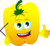 Yellow bell pepper with thumb up Stock Photo