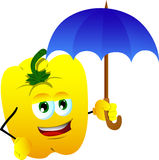 Yellow bell pepper with umbrella Royalty Free Stock Photo