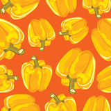 Yellow bell pepper vector seamless background. Royalty Free Stock Photos