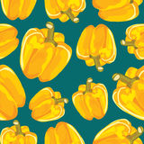 Yellow bell pepper vector seamless background. Royalty Free Stock Images