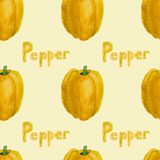 Yellow bell pepper watercolor seamless pattern vector illustration