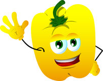 Yellow bell pepper waving hand Royalty Free Stock Images