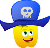 Yellow bell pepper wearing pirate hat Royalty Free Stock Image