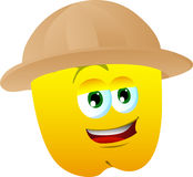 Yellow bell pepper wearing scout or explorer hat Stock Photos