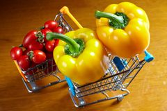 Yellow bell peppers and cherry tomatoes Royalty Free Stock Photo