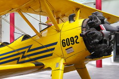 Yellow bi-plane II Royalty Free Stock Image