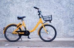 1 yellow bicycle stock image